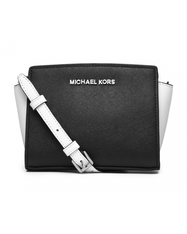 Сумка MICHAEL Michael Kors Mini Selma Colorblock Messenger Black Optic White
