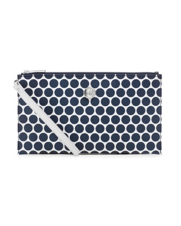 Клатч MICHAEL Michael Kors Large Kiki Zip Clutch White Navy