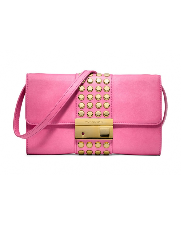 Клатч Michael Kors Gia Studded Leather Clutch Carnation