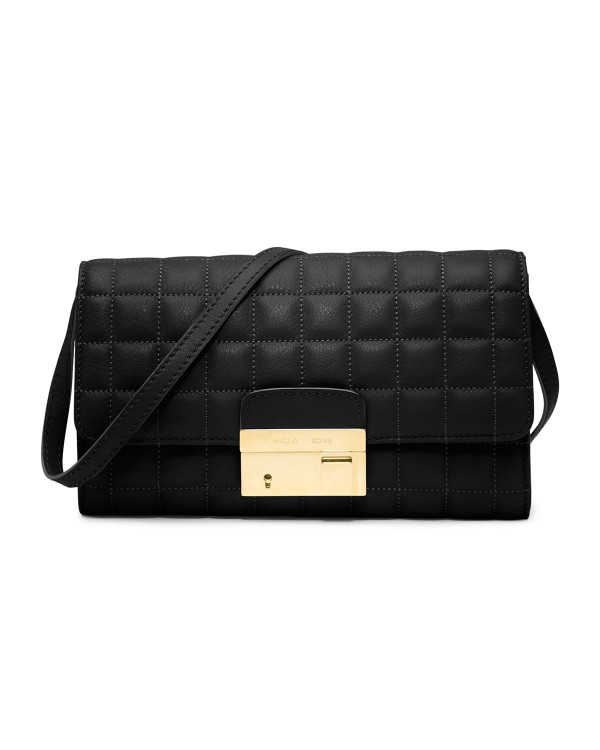 Клатч Michael Kors Gia Quilted Clutch with Lock Black