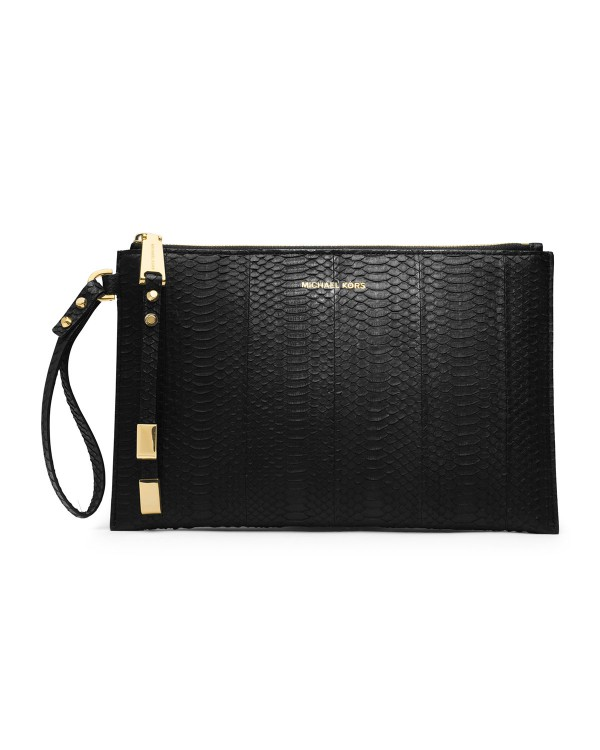 Клатч Michael Kors Large Harlow Zip Clutch Black Snakeskin