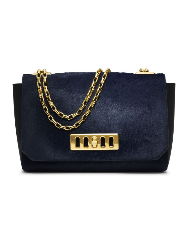 Сумка Michael Kors Vivian Calf-Hair Shoulder Flap Bag Navy
