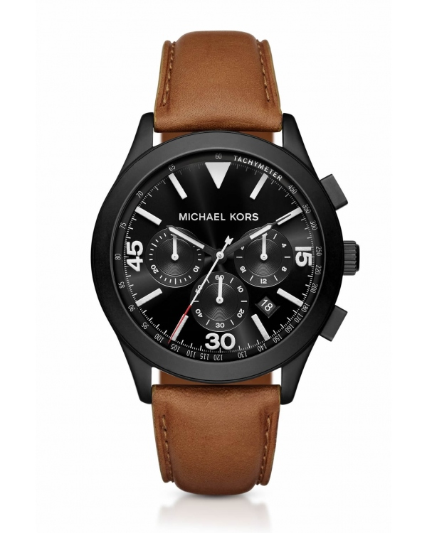 Часы Michael Kors Gareth Black-Tone and Leather Watch MK8450