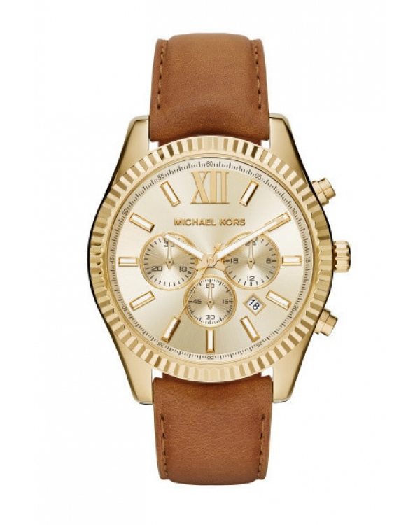 Часы Michael Kors Lexington Gold-Tone And Leather Watch MK8447