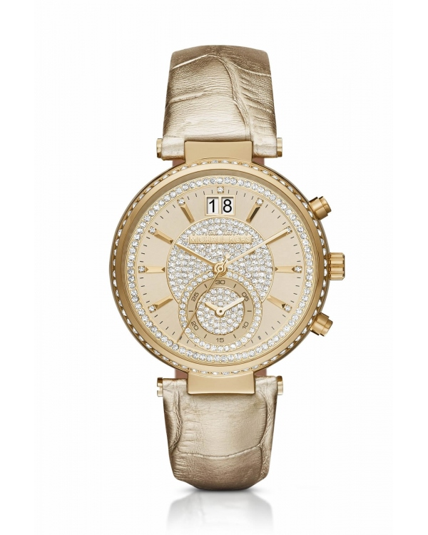 Часы Michael Kors Sawyer Gold-Tone And Leather Watch MK2444