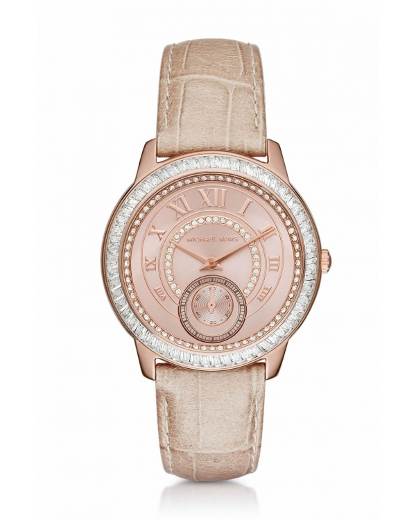 Часы Michael Kors Madelyn Pave Rose Gold -Tone and Leather Watch MK2448