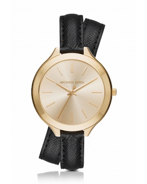 Часы Michael Kors Slim Runway Gold-Tone and Leather Watch MK2468