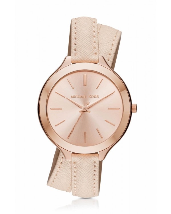 Часы Michael Kors Slim Runway Rose Gold-Tone and Leather Wrap Watch MK2469