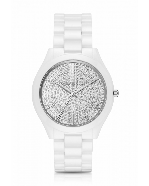 Часы Michael Kors Slim Runway Pave Silver-Tone Ceramic Watch MK3448
