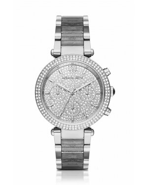 Часы Michael Kors Parker Pave Silver-Tone and Glitter Acetate Watch MK6284