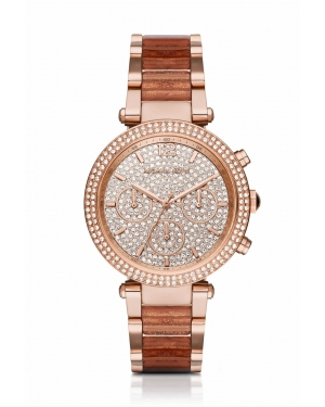 Часы Michael Kors Parker Pave Rose Gold-Tone and Acetate Watch MK6285
