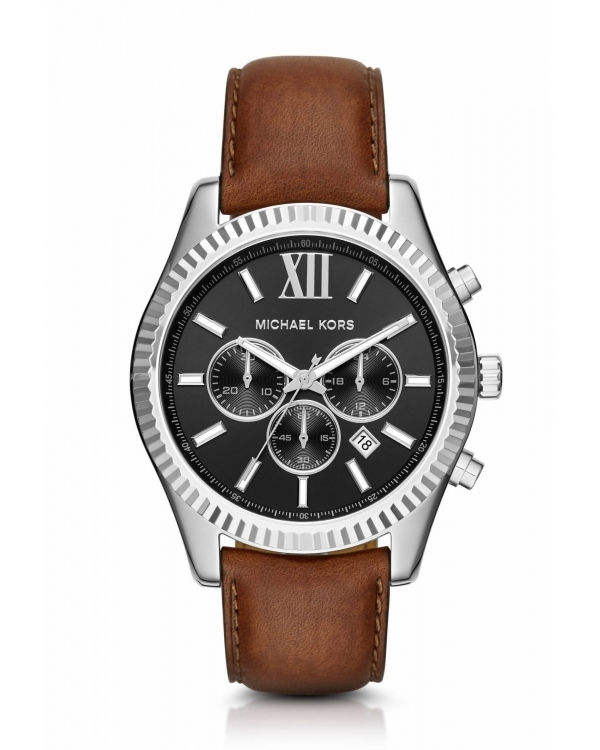 Часы Michael Kors Lexington Silver-Tone and Leather Watch MK8456