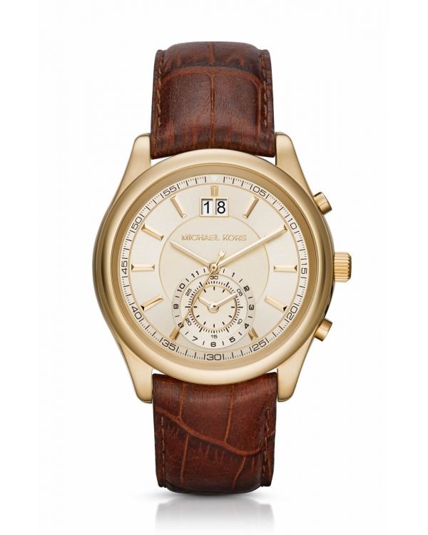 Часы Michael Kors Aiden Gold-Tone And Leather Watch MK8459
