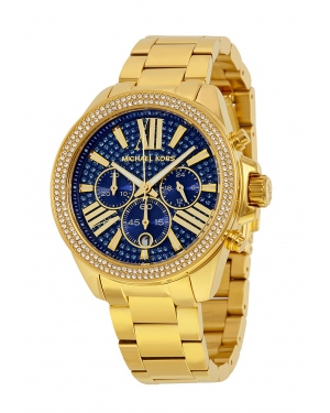 Часы Michael Kors Wren Blue Crystal Pave Chronograph Gold-Tone Watch MK6291