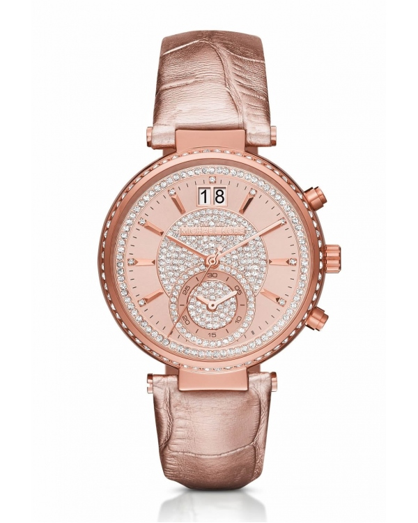 Часы Michael Kors Sawyer Rose Gold-Tone And Leather Watch MK2445