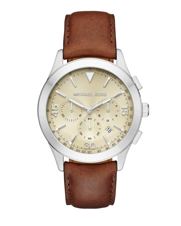 Часы Michael Kors Gareth Silver-Tone and Leather Watch MK8449