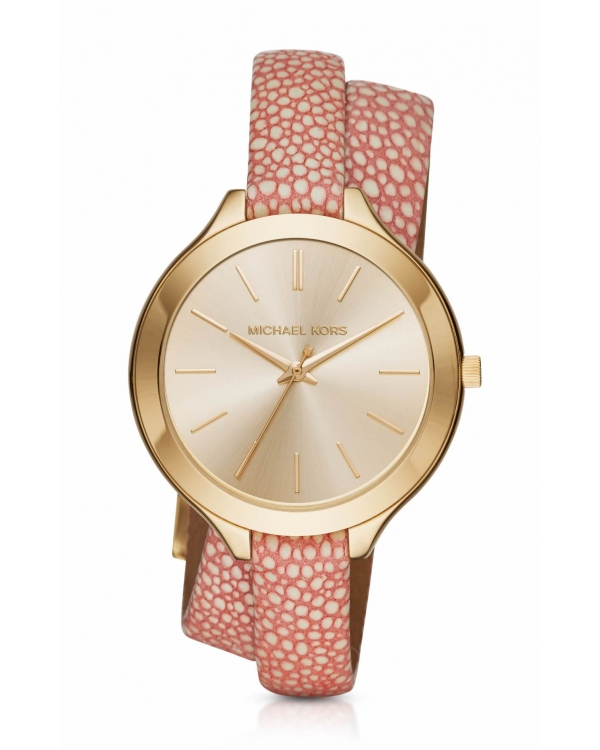 Часы Michael Kors Slim Runway Gold-Tone And Leather Wrap Watch MK2476