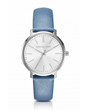 Часы Michael Kors Jaryn Silver-Tone Leather-Band Watch MK2495