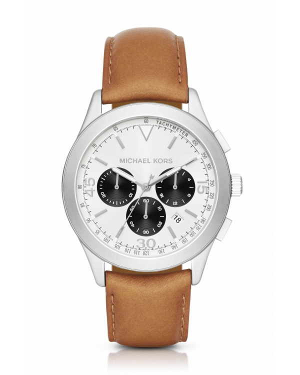 Часы Michael Kors Gareth Silver-Tone Leather-Band Watch MK8470