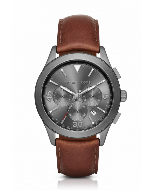 Часы Michael Kors Gareth Gunmetal-Tone Leather-Band Watch MK8471