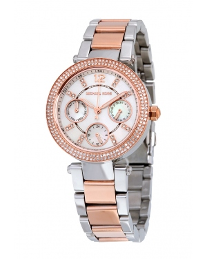 Часы Michael Kors Mini Parker White Glitz Dial Two-Tone Watch MK6306