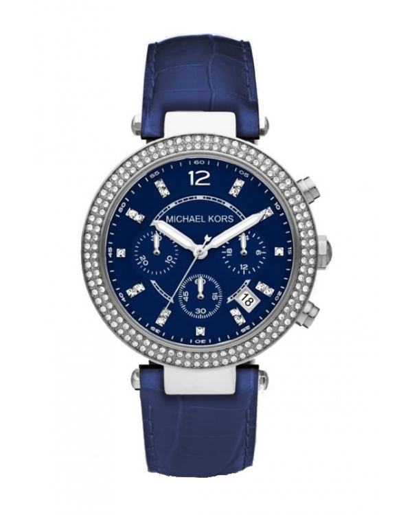 Часы Michael Kors Parker Silver-Tone Stainless Steel And Blue Leather Watch MK2384