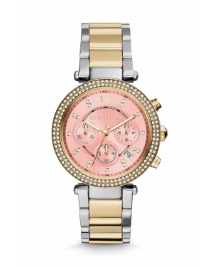 Часы Michael Kors Parker Pink Dial Two-tone Watch MK6140