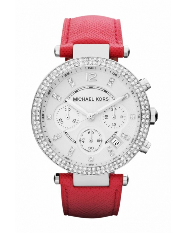 Часы Michael Kors Parker Silver-Tone Stainless Steel And Pink Leather Watch MK2278