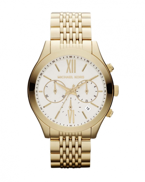 Часы Michael Kors Brookton Gold-Tone White Dial Chronograph Watch MK5762