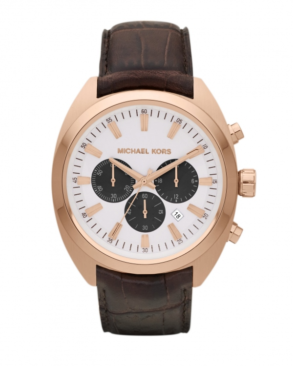 Часы Michael Kors Dean Rose Gold-Tone Brown Leather Chronograph Watch MK8271