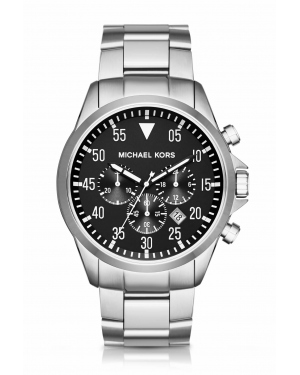 Часы Michael Kors Gage Silver-Tone Black IP Dial Stainless Steel Watch MK8413