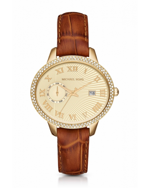 Часы Michael Kors Whitley Pave Gold-Tone And Leather Watch MK2428