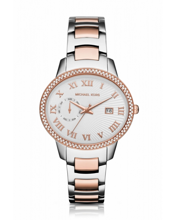 Часы Michael Kors Whitley Pave Silver And Rose Gold-Tone Watch MK6228