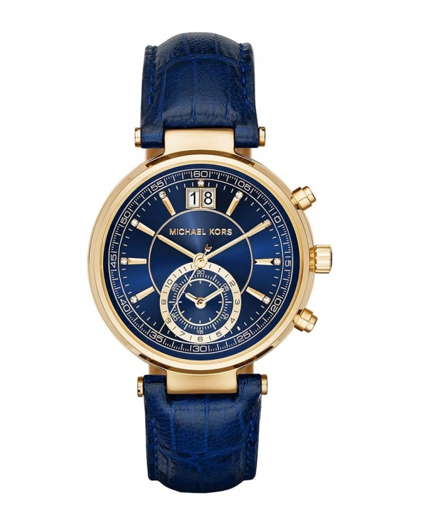 Часы Michael Kors Sawyer Gold-Tone And Embossed-Leather Watch MK2425