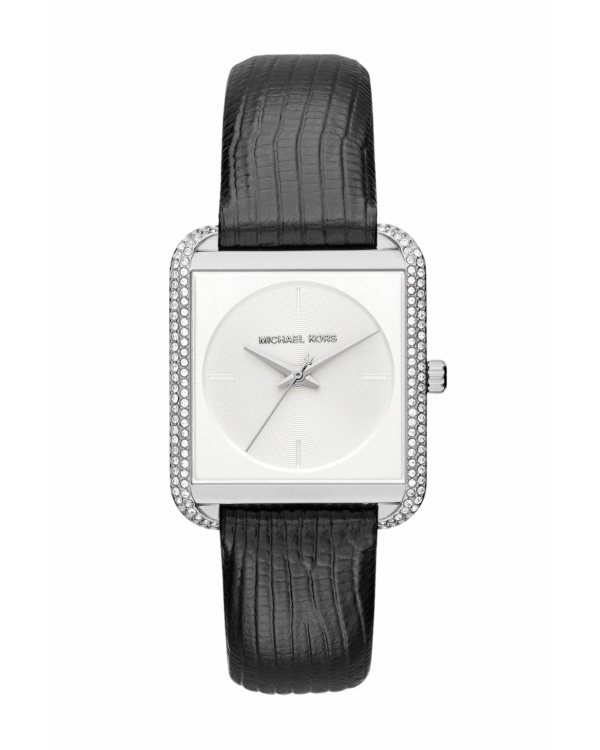 Часы Michael Kors Lake Pave Silver-Tone And Embossed-Leather Watch MK2583