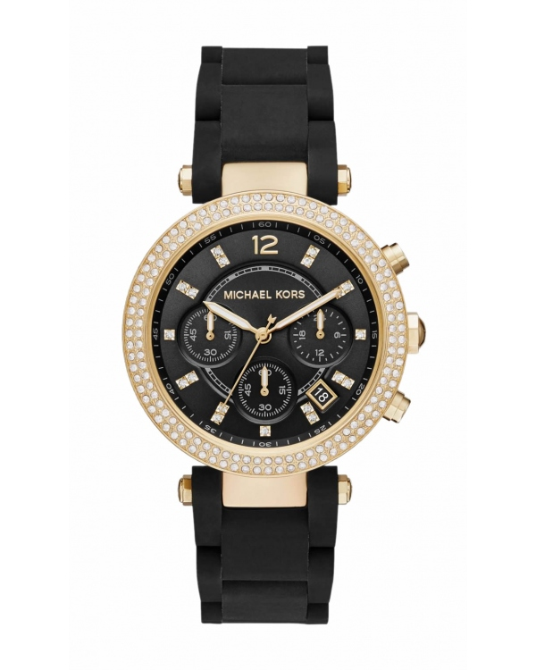 Часы Michael Kors Parker Pavé Gold-Tone And Silicone Watch MK6404
