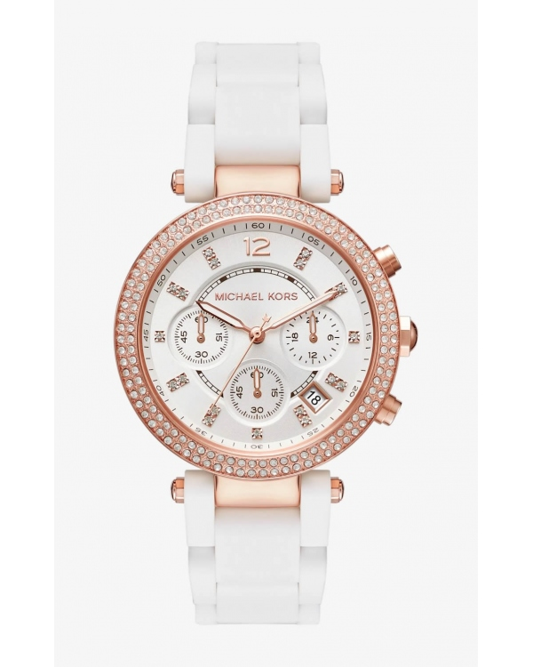 Часы Michael Kors Parker Pave Rose Gold-Tone And Silicone Watch MK6405