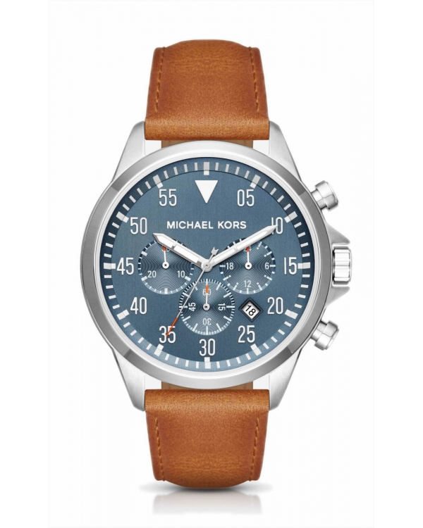 Часы Michael Kors Gage Silver-Tone And Leather Watch MK8490