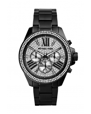 Часы Michael Kors Wren Pavé-Embellished Black Stainless Steel Watch MK6059