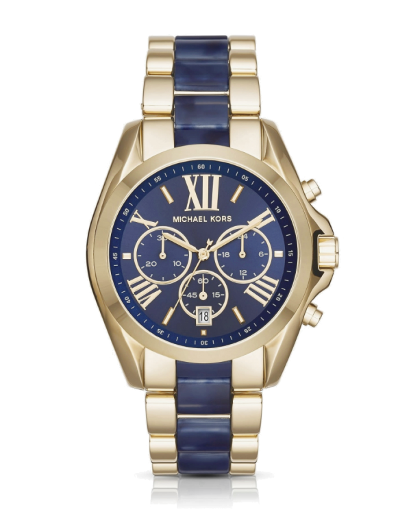 Часы Michael Kors Oversize Bradshaw Gold-Tone and Navy Acetate Watch MK6268