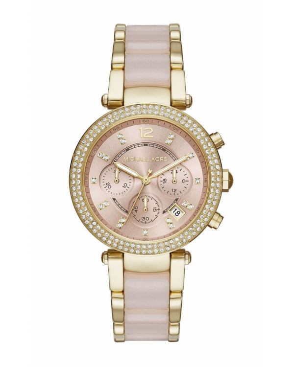 Часы Michael Kors Parker Pink Dial Gold-Tone Stainless Steel Pink Acetate Watch MK6326
