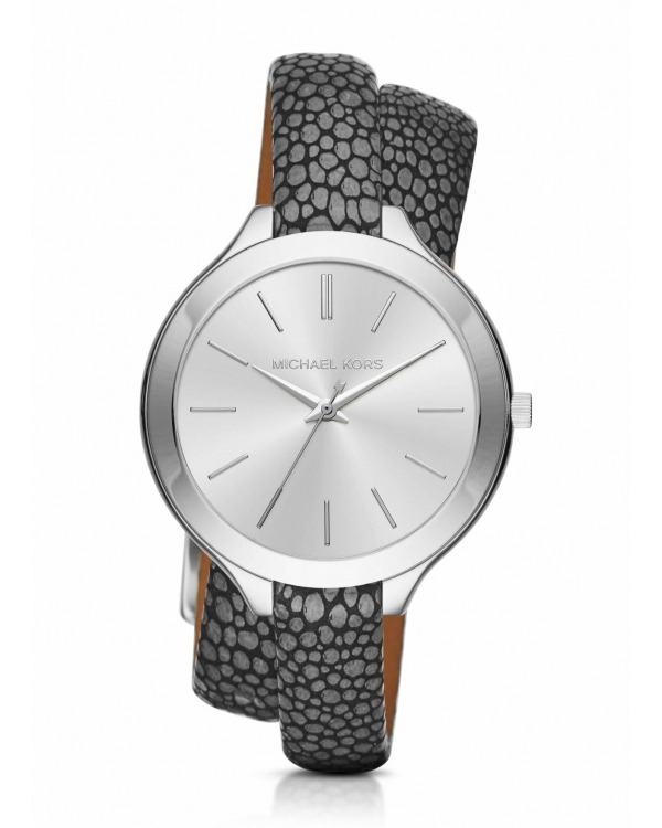 Часы Michael Kors Slim Runway Silver-Tone And Leather Wrap Watch MK2475