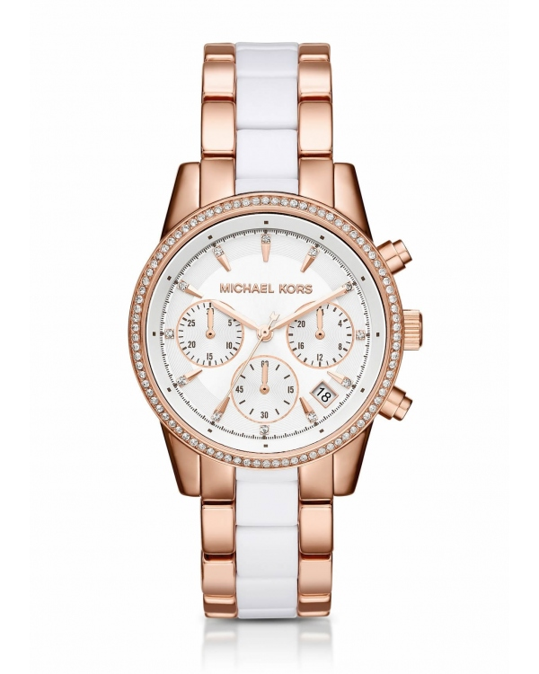 Часы Michael Kors Ritz Pave Rose Gold-Tone And Acetate Watch MK6324