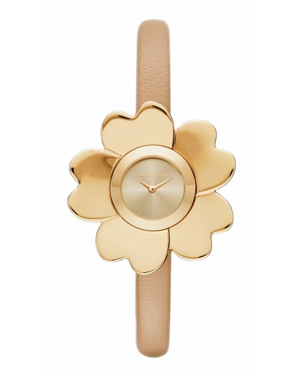 Часы Michael Kors Mena Gold-Tone and Leather Floral Watch MK2664