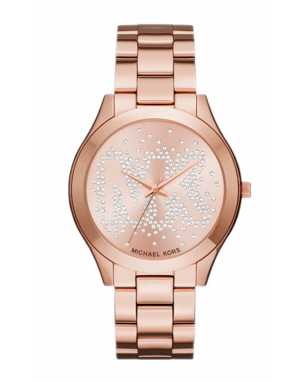 Часы Michael Kors Slim Runway Scatter Logo Rose Gold-Tone Watch MK3591