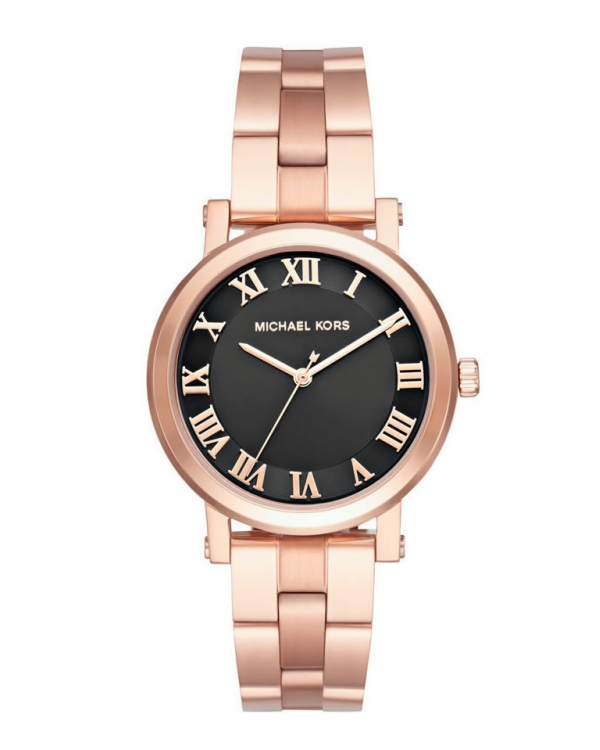 Часы Michael Kors Norie Black Dial Ladies Rose Gold Tone Watch MK3585