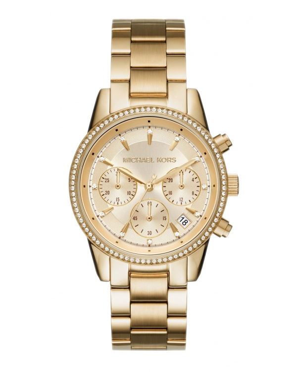 Часы Michael Kors Ritz Gold Tone Dial Ladies Chronograph Watch MK6356