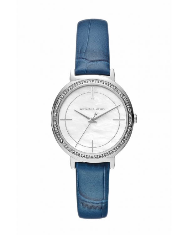 Часы Michael Kors Cinthia Silver-Tone and Embossed Leather Watch MK2661