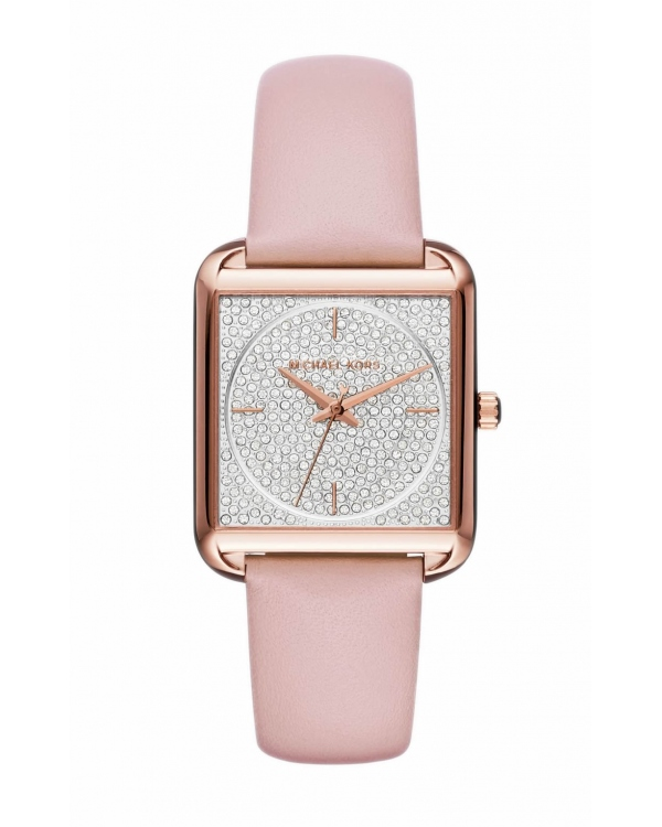 Часы Michael Kors Lake Pave Rose Gold-Tone and Leather Watch MK2669