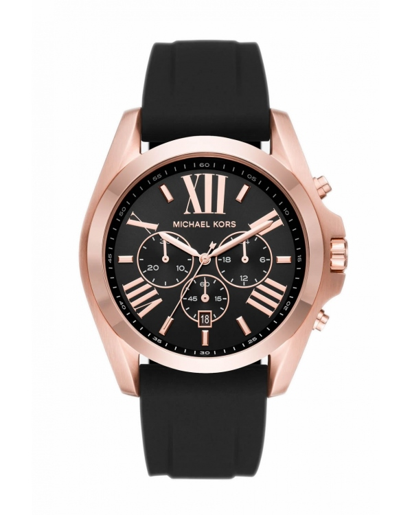 Часы Michael Kors Bradshaw Rose Gold-Tone and Silicone Watch MK8559